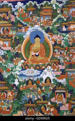 Shakyamuni Buddha with Avadana Legend Scenes - Stock Image