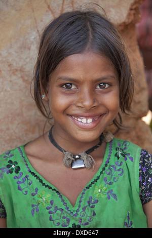 Porrait of tribal girl. Santhal tribe. Jarkatand village, Bokaro district, Jharkhand - Stock Image