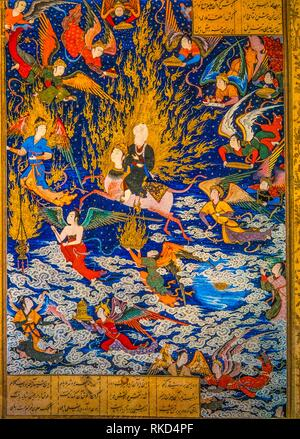 Religion. Islam. manuscript, XIIIc. (BN.Paris) representing the prophet Muhammad going to heaven on the back of ''Butaq''. - Stock Image
