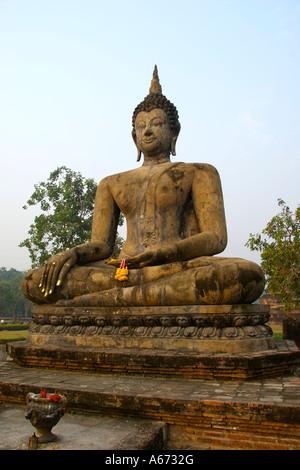 Buddha at Wat Mahathat in Sukhothai - Stock Image