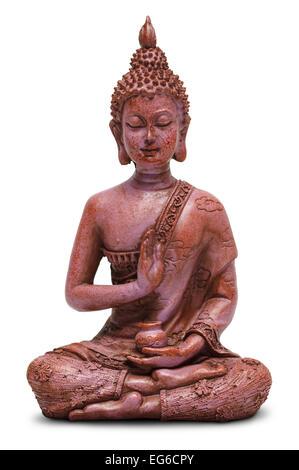 Sitting Buddha Statue Isolated on a White Background. - Stock Image