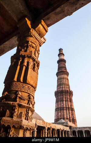 Qutb Minar at sunset, Delhi, India. - Stock Image