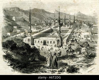 geography/travel, Saudi Arabia, Medina, Mosque of the Prophet, built 622, exterior view, engraving, 1897, Al Masjid - Stock Image