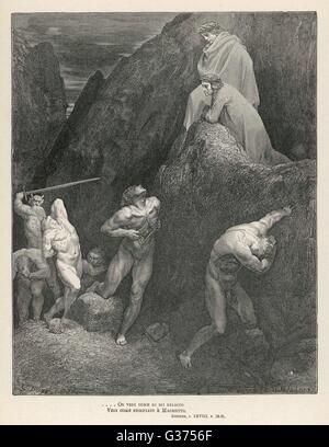 Illustration to the twenty- eighth canto: Dante & Virgil see prophet Muhammad showing  his entrails in the - Stock Image