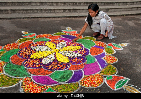 Chennai woman is making an Rangoli design with Flowers in an Indian street during the hindu festival of Sankranthi - Stock Image