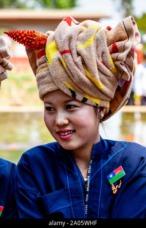 A Young Woman From The Pa'O Ethnic Group At The Kakku Pagoda Festival, Taunggyi, Myanmar. - Stock Image