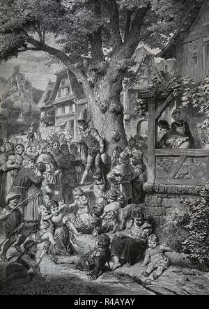Minstrel acting during a party in the square of an adea. Europe. Middle Ages. Engraving of Germania, 1882. - Stock Image