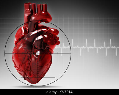 Human heart under attack, abstract medical background. - Stock Image