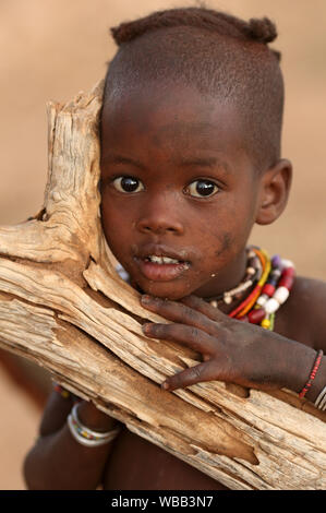 Beautiful Hamer tribal girl at a bull jumping ceremony in Lower Omo Valley, Ethiopia - Stock Image