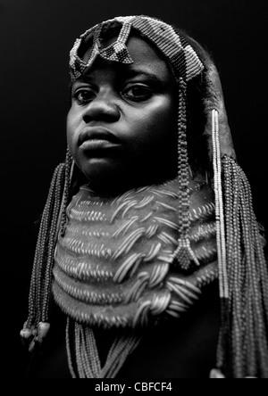 Mwila Girl With A Vikeka Necklace, Angola - Stock Image