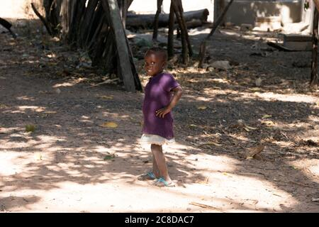 A young, indigenous Jola girl. The Gambia, West Africa. - Stock Image