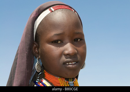 Tribal young girl from the tribe of the Arbore Omovalley Ethiopia Africa - Stock Image
