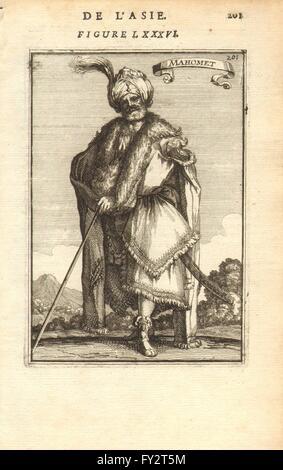 PROPHET MOHAMMED: Muhammad محمد 'Mahomet'. Islam Muslim Moslem. MALLET, 1683 - Stock Image