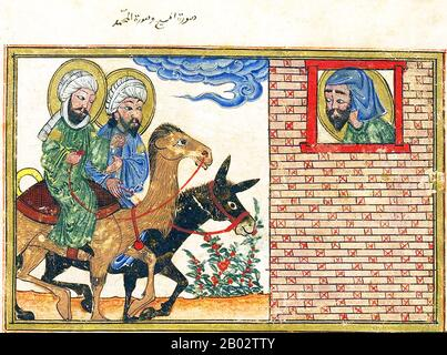 Representations of the Prophet Muhammad are controversial, and generally forbidden in Sunni Islam (especially Hanafiyya, Wahabi, Salafiyya).  Shia Islam and some other branches of Sunni Islam (Hanbali, Maliki, Shafi'i) are generally more tolerant of such representational images, but even so the Prophet's features are generally veiled or concealed by flames as a mark of deep respect. - Stock Image