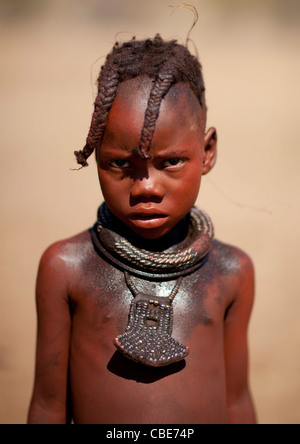 Muhimba Young Girl With A Copper Necklace, Village Of Elola, Angola - Stock Image