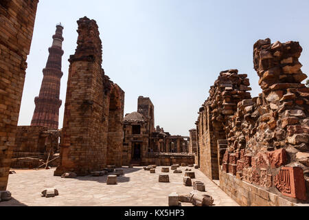 The Qutub Minar is the tallest minaret included world heritage site situated in New Delhi, India - Stock Image
