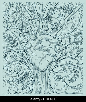 Hand drawn illustration or drawing of a human heart and a tree with a lot of branches and leafs - Stock Image