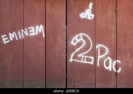 Albania, Gjirokastra, graffiti about US rappers Eminem and Tupac Shakur, a salute to US culture - Stock Image