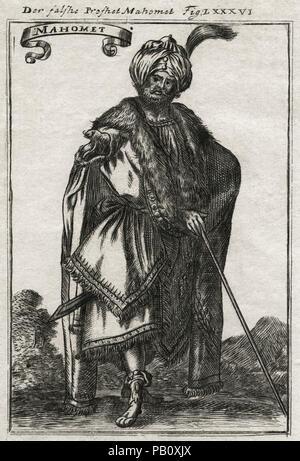 The False Prophet Mohammed, Der falshe Profhet Mahomet, Engraving - Stock Image