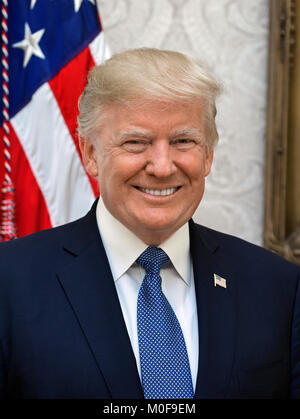 Donald Trump (1946- ). Official White House portrait of the 45th President of the United States, 2017. - Stock Image