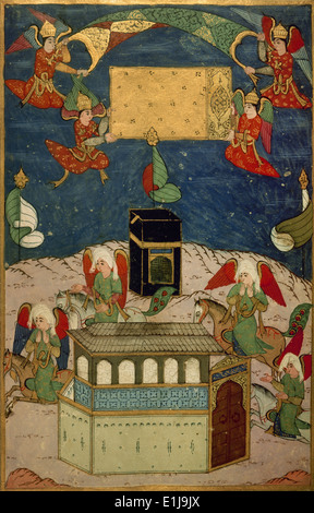 Mecca. Angels decorating the Kaba at the birth of prophet Muhammad. Miniature. Book of Sufti Abdullah. - Stock Image