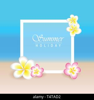 summer holiday with frangipani exotic flowers plumeria and beach background vector illustration EPS10 - Stock Vector