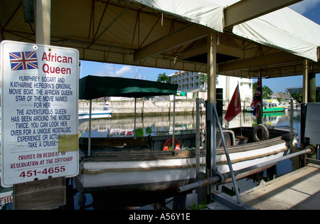Original African Queen boat from the film of the same name, Key Largo, Florida Keys, Florida, USA - Stock Image
