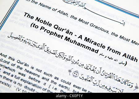 Cover page of the Qu'ran 'A miracle from Allah to Prophet Muhammad' - Stock Image