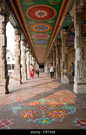 Rangoli (traditional floor decoration). Sri Meenakshi temple. Madurai. India - Stock Image