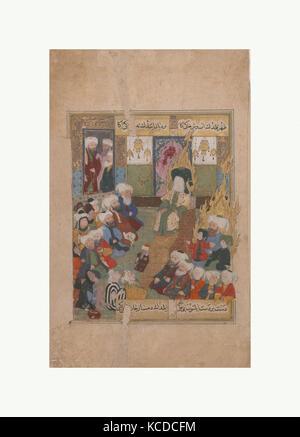 'Prophet Muhammad Preaching', Folio from a Maqtal-i Al-i Rasul of Lami'i Chelebi, late 16th century - Stock Image