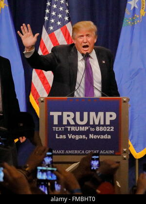 Donald Trump victory speech following big win in Nevada caucus, Las Vegas, NV - Stock Image