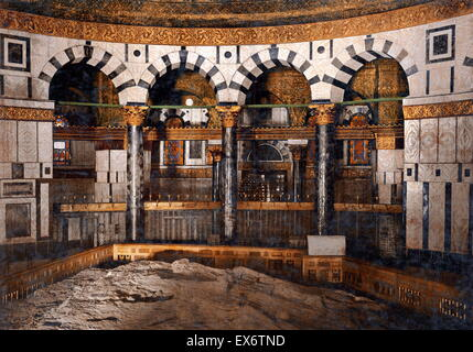 The foundation stone inside the Dome of the Rock located on the Temple Mount in the Old City of Jerusalem. It was - Stock Image