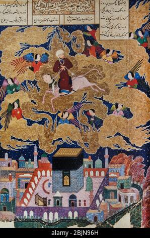The Buraq carried the prophet Muhammad from Mecca to Jerusalem, 1494. British Library. - Stock Image