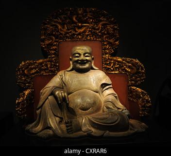 Chinese Art. Buddha Heshang. China, Qing Dynasty (1644-1911). Ny Carlsberg Glyptotek. Copenhagen. Denmark. - Stock Image