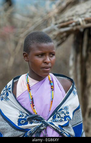 MASAI MARA, KENYA - September, 23: Young Masai woman on September, 23, 2008 in Masai Mara National Park, Kenya - Stock Image