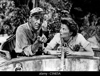 humphrey bogart , katharine hepburn in The 'African Queen' 1951 - Stock Image