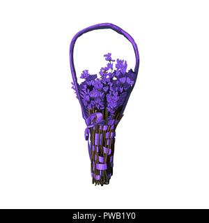 Lavender bouquet with handle isolated on white background. Lavender flowers with ribbon for decoration. Provence mood vector element. - Stock Vector