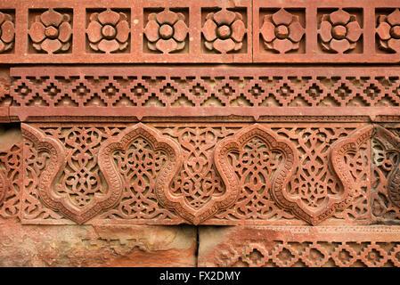 Detail of carvings at Qutub Minar complex, Delhi - Stock Image