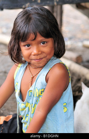 A young happy Thai girl in Sangkhlaburi in western Thailand. - Stock Image