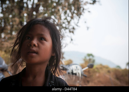 young tribal girl cambodia - Stock Image