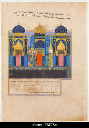 The Prophet Muhammad at the Gates of Paradise. From the Book Nahj al-Faradis (The Paths of Paradise) Artist: Iranian - Stock Image