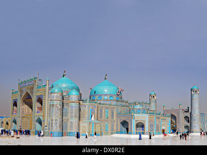 The Shrine of Hazrat Ali, known as the Blue Mosque April 3, 2012 in Mazar-e-Sharif, Balkh Province, Afghanistan. It is one of the reputed burial places of Ali ibn Abi Talib, cousin and son-in law of Prophet Muhammad. - Stock Image