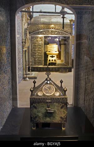Holy case with belongings of prophet Muhammad, Topkapi Palace Holy Relics Section, Istanbul Turkey. - Stock Image