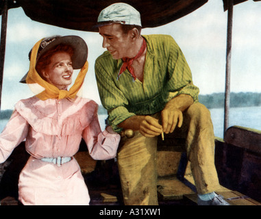 AFRICAN QUEEN 1951 IDF film Humphrey Bogart and Katharine Hepburn - Stock Image