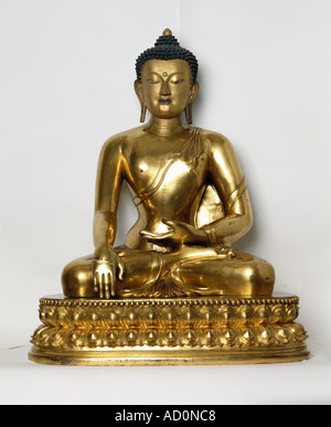 Seated Buddha, Tibet, 18th century. - Stock Image