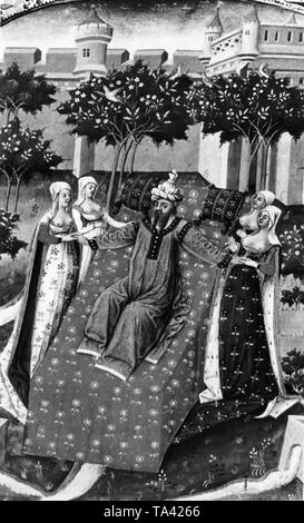 The Islamic prophet Muhammad illustrated with several women, after a French miniature from the 15th century - Stock Image