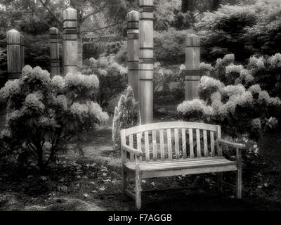 Rhododendrons and bench. The Oregon Garden. Silverton, Oregon - Stock Image