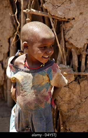 Africa, Kenya, Amboseli. Young Maasai girl. - Stock Image