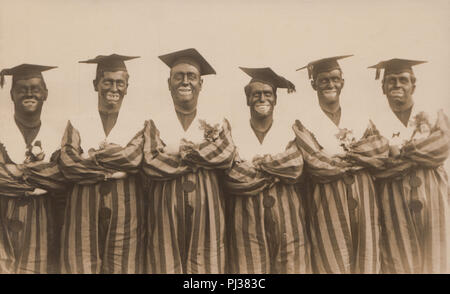 Vintage Photograph of Minstrel Show Performers With Blacked Up Faces - Stock Image