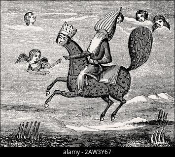 The mythical creature Burāq carried the Islamic prophet Muhammad up in the heavens, Persian miniature - Stock Image